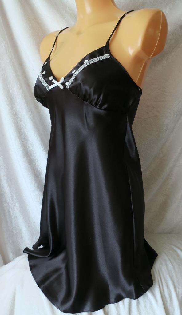 BNWOT spotty black satin nightie chemise with lace trim size M fit 12 14