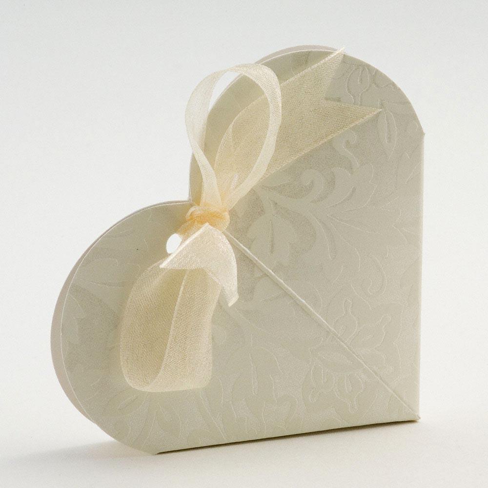 50 Ivory Diamante Heart Wedding Favour Boxes | eBay