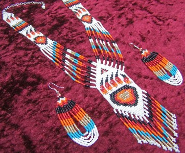 Quot Red Bear Claw Quot Native American Beaded Jewelry Set Ebay