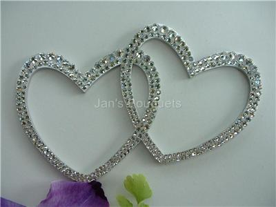 swarovski crystal double heart wedding cake topper custom metal swarovski wedding cake topper ebay 20673