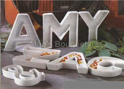 plastic letter candy dishes letters monogram ceramic serving dish centerpiece 24012
