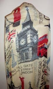 Patriotic LONDON City Big Ben London Bridge,Union Jack,London Bus Scarf Wrap