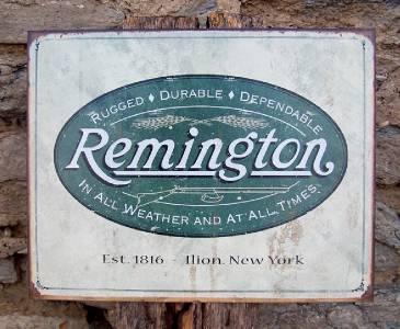 Old Antique Style Remington Logo Tin Gun Sign Retro Guns