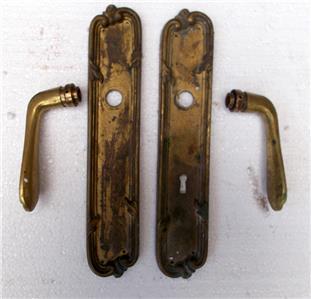 Victorian Bronze Finger Plate Push Door Handle Architectural Antique Art Crafts
