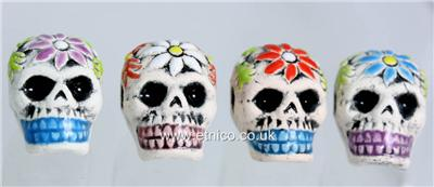 Gothic Charms Day of the dead Sugar Skull Beads lots X 4 BEADS Flower design