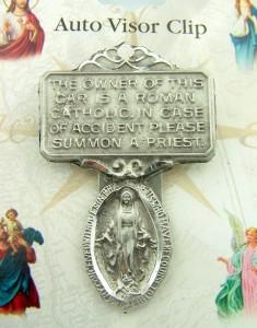miraculous medal i am roman catholic call a priest pewter auto visor clip ebay. Black Bedroom Furniture Sets. Home Design Ideas