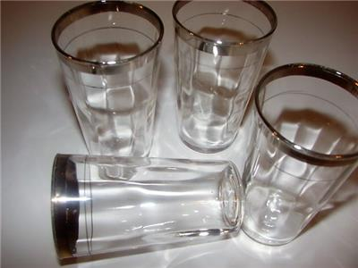 d50276bf901c Vintage~Silver Rimmed Cocktail Glasses~Lot of 4~Mid Century~Dorothy Thorpe  Era~