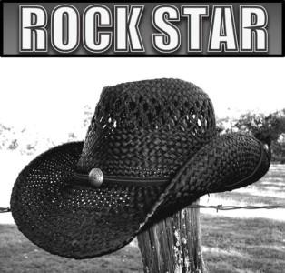 new rock star rock n roll cowboy shapeable western raffia straw hat black l xl ebay. Black Bedroom Furniture Sets. Home Design Ideas