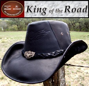 0cdc5c7a1425a ... promo code for montecarlo bullhide biker leather king of the road rock  n roll cowboy hat
