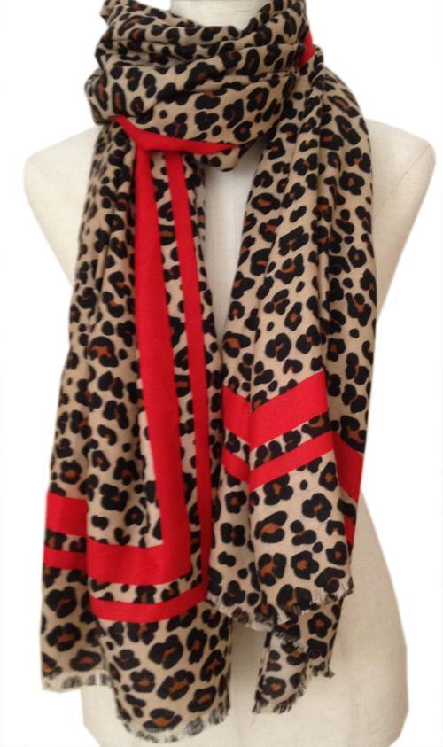 4c8d271542f51 Fabulous LEOPARD Print Design Large Scarf / Shawl Brown & Black Red Stripe