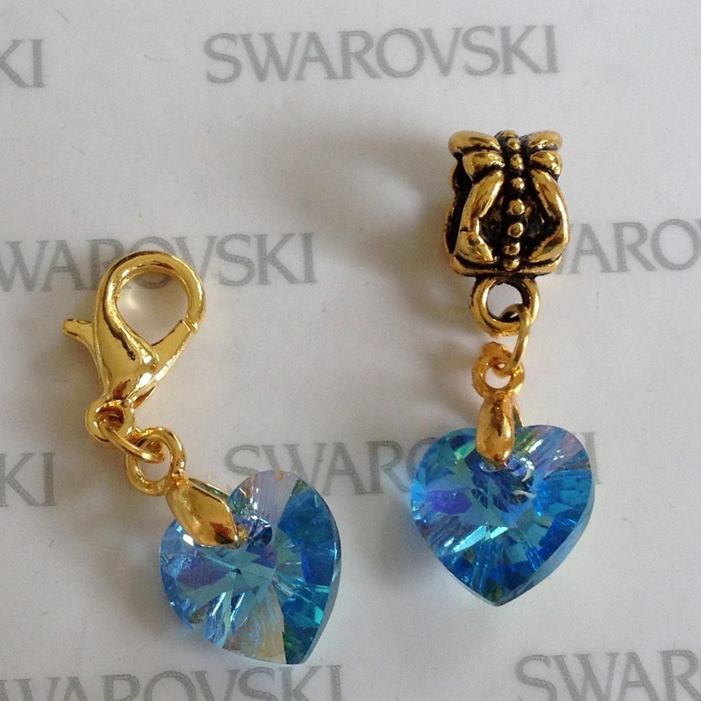 Swarovski Charm Bracelet: Handmade SWAROVSKI Elements Gold Plated BAIL Or CLIP On