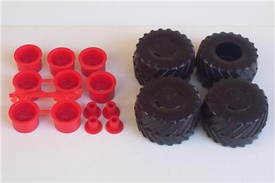 4 Monster Truck Tires 4 Wheels Only 4x4 Ford Bronco MPC 1 25 Model Parts Vtg