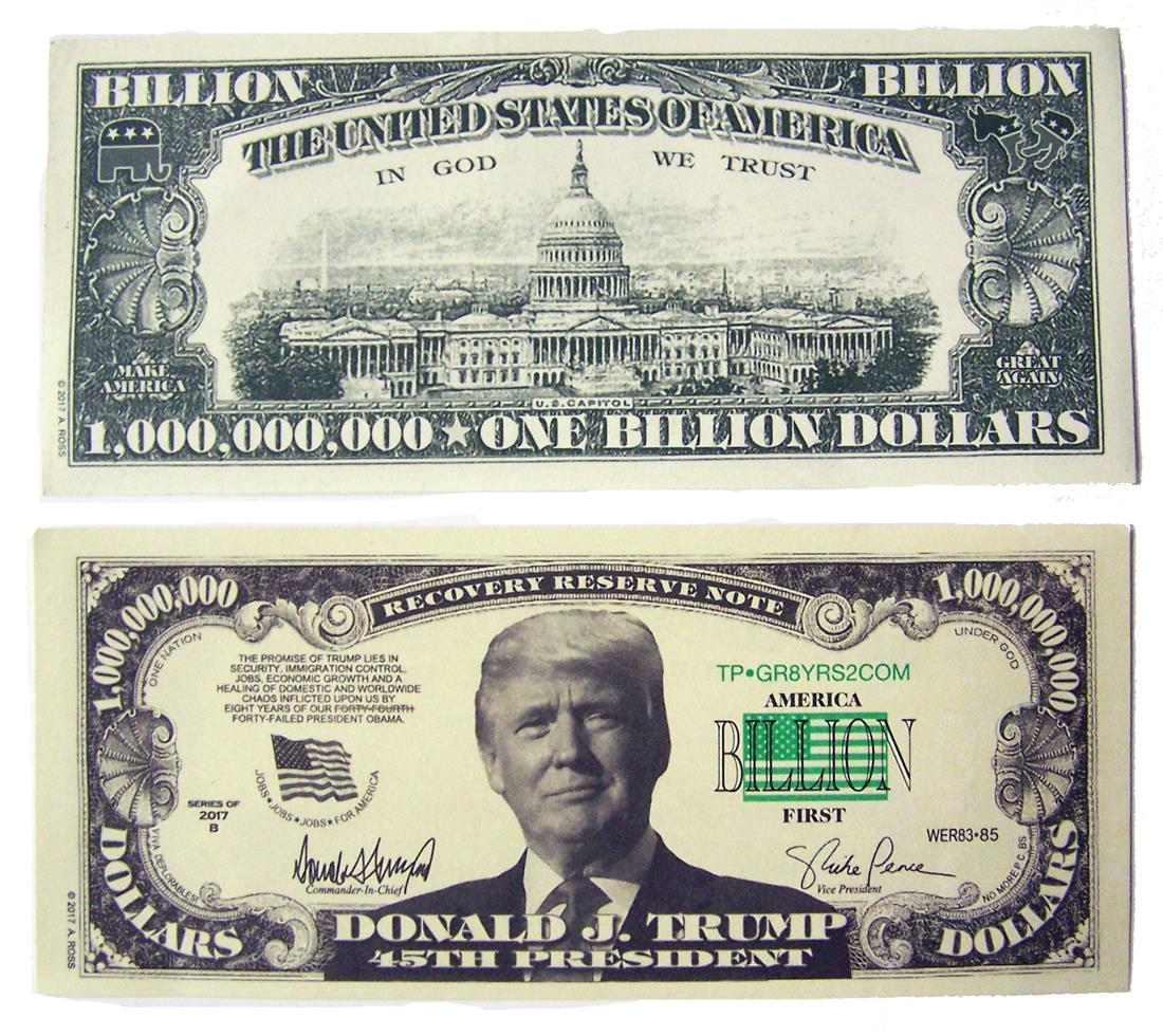 50 NOVELTY FAKE PRESIDENT TRUMP BILLION DOLLAR BILLS joke ...