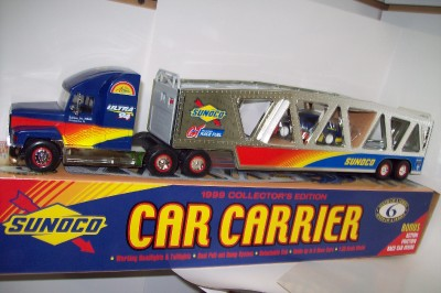 1999 SUNOCO CAR Transport CARRIER TRUCK Trailer WITH RACE CAR