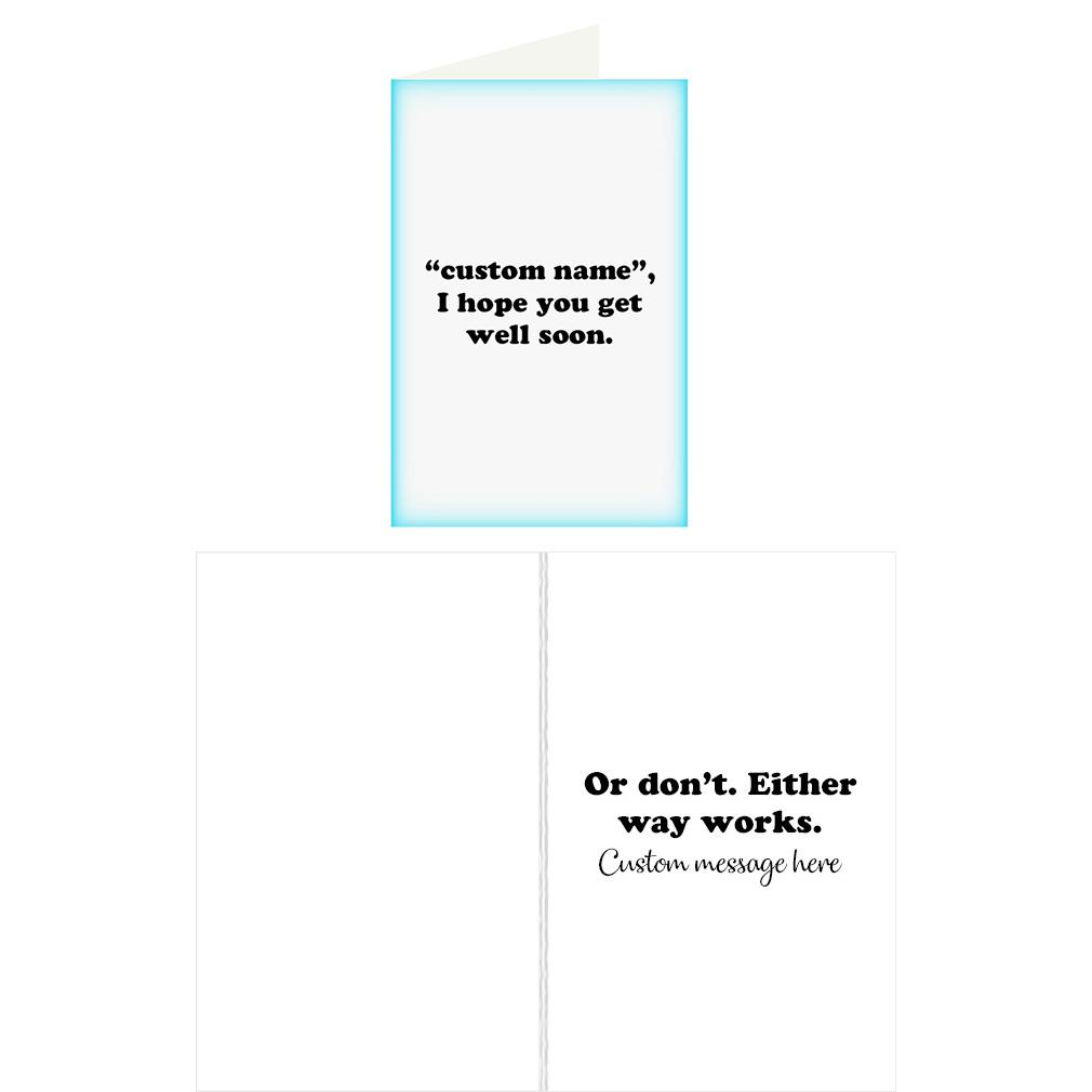 Re Cards Personalized Get Well Soon Greeting Card Funny Adult