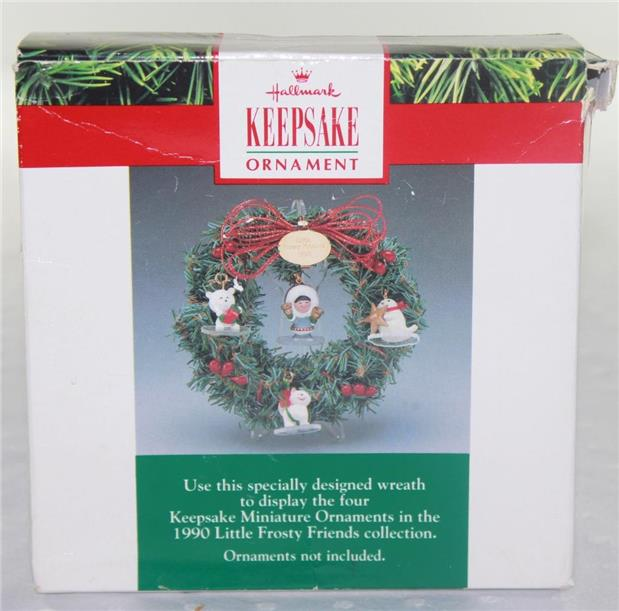 Hallmark Ornament Little Frosty Friends Memory Mini Wreath with Stand 1990