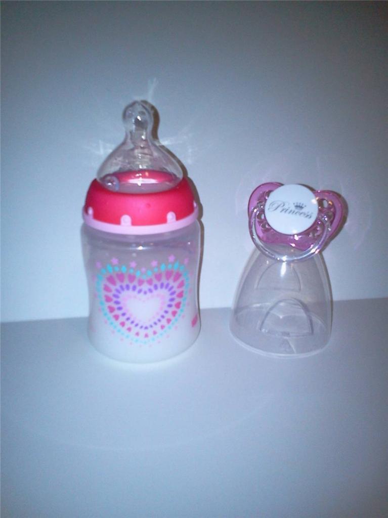 Reborn Baby Doll Bottle Set 5oz Faux Milk Pink Tie Dye