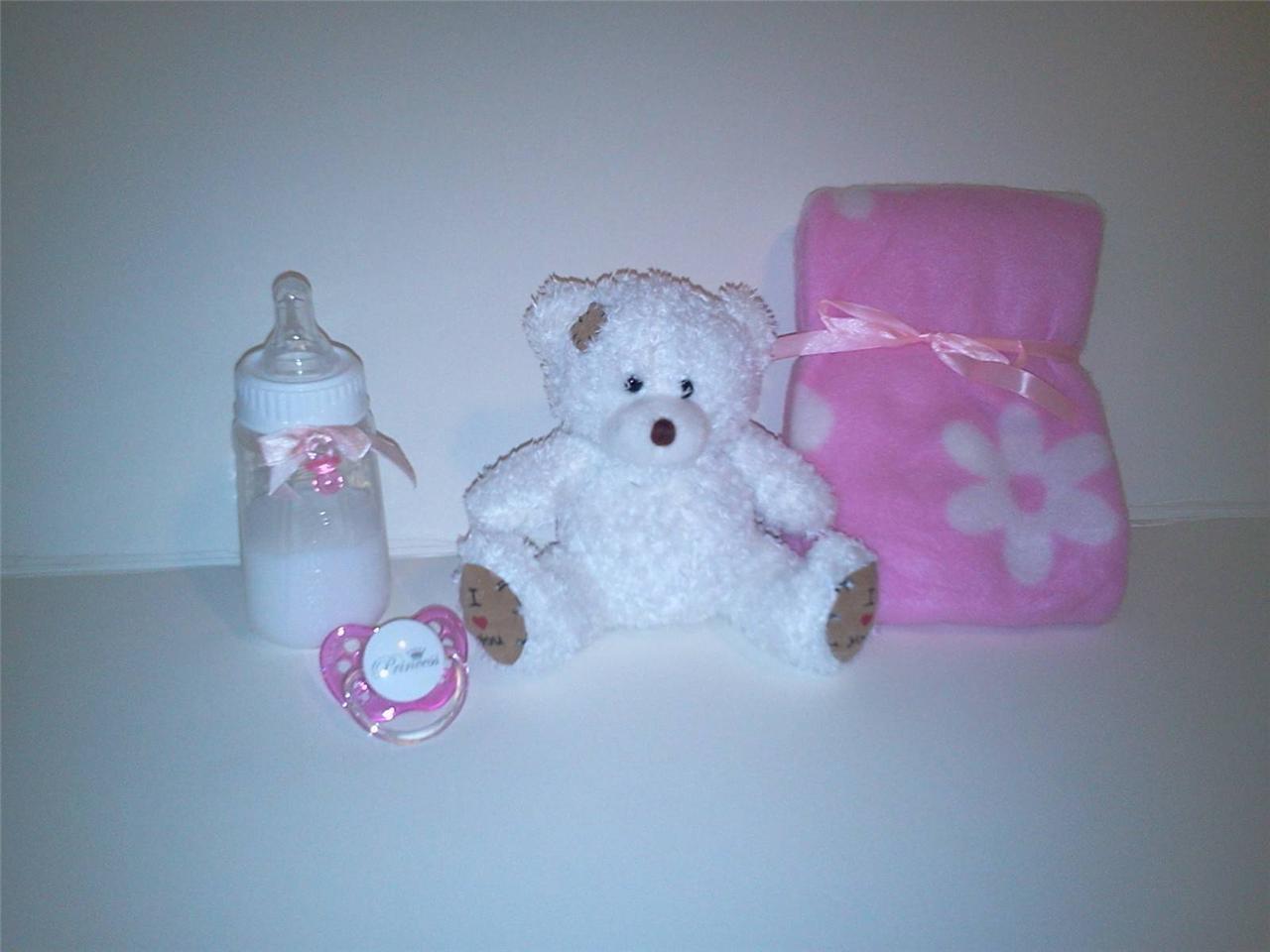 Reborn Baby Doll Bottle Set 5oz Faux Milk Bear Pink