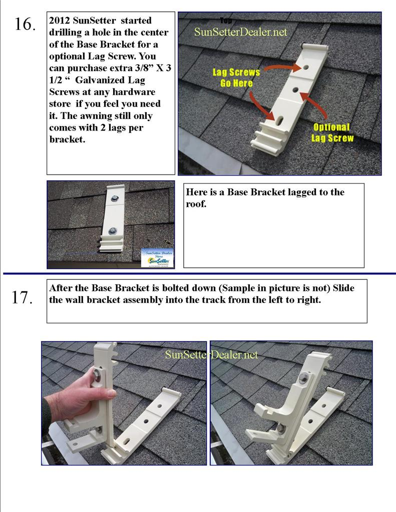 Sunsetter Awning Prices >> Installing Roof Brackets