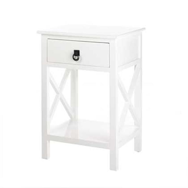 WHITE WOOD END SIDE ACCENT NIGHT TABLE STORAGE 15214