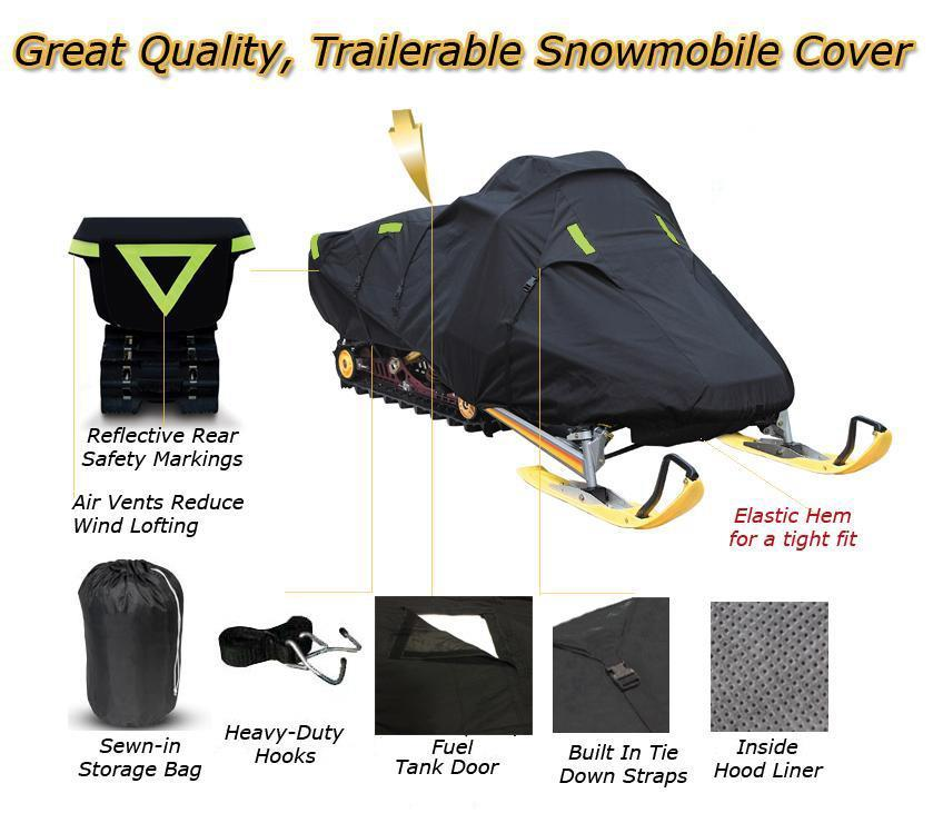 Trailerable Snowmobile Snow Machine Sled Cover fits Arctic Cat ZR 900 2002 2003 2004 2005 2006