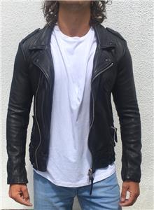 Mens Biker Style Leather Jacket Slim Fit Zip Fastening Style Ethan Brown