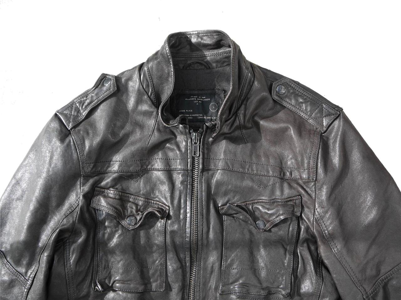 *CLASSIC STYLE* Spitalfields ALL SAINTS POST COMMAND LEATHER JACKET RRP £295 L
