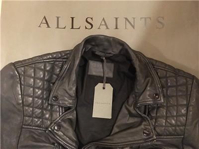 """XS S M L XL  NEW TAGS ALL SAINTS MEN/'S BLACK /""""CATCH/"""" LEATHER BIKER JACKET COAT"""