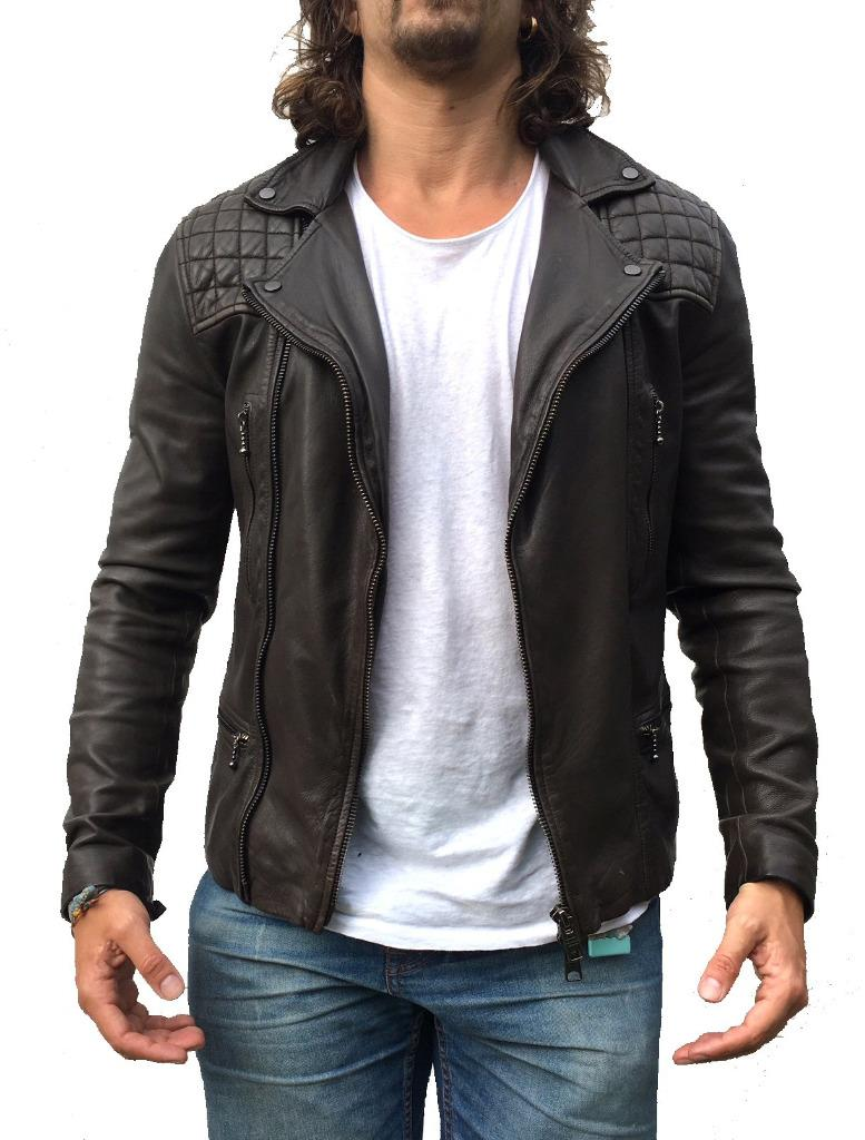 Slim Fit All Saints Rowley Biker Leather Jacket Conroy