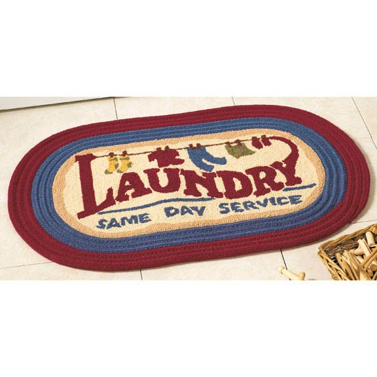 Laundry Room Rug 31x20 Oval Floor Mat Country Decor New