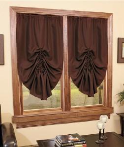 burgundy tie up curtain shade in stock blackout room darkening window ebay. Black Bedroom Furniture Sets. Home Design Ideas