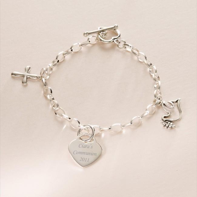 Religious Charm Bracelet: Communion Sterling Silver Engraved Heart, Cross & Dove