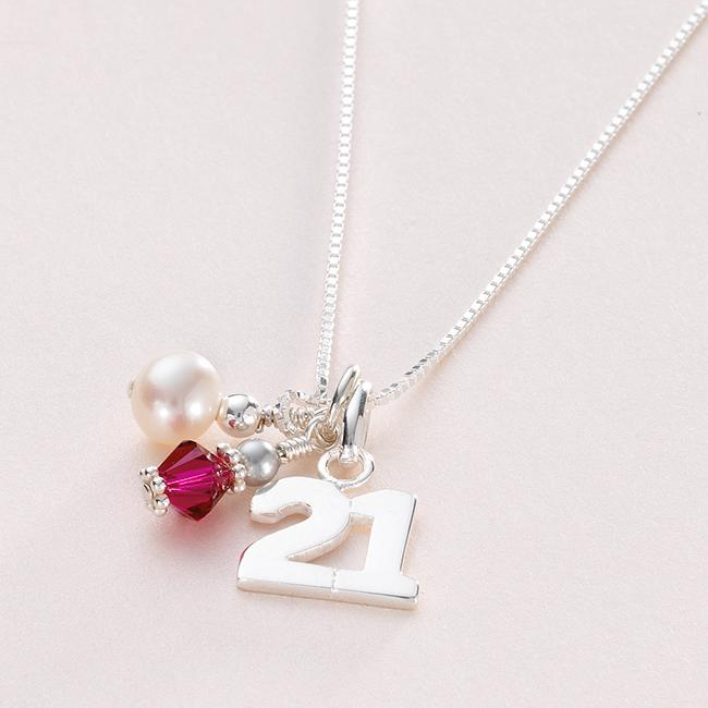 Gift For 21st Birthday, Birthstone Necklace For Age 21