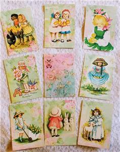 Set of 9 Cards~Vintage Easter Chicks~Pocket Pen Pal Letter Kit~//w Protector~#65N