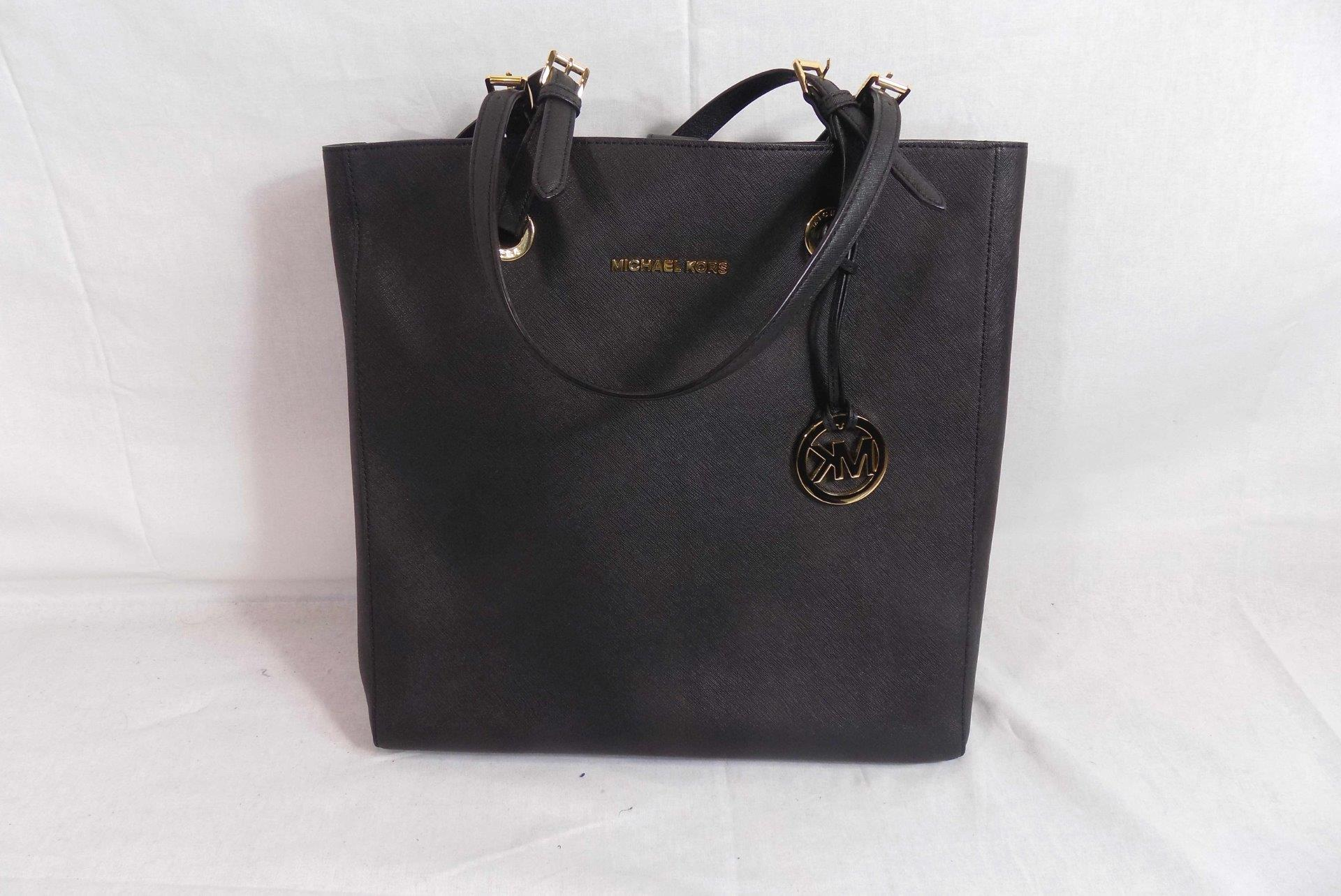 efa383bf9a2d Michael Kors Handbag Black Leather Double Handle Large Tote Limited ...