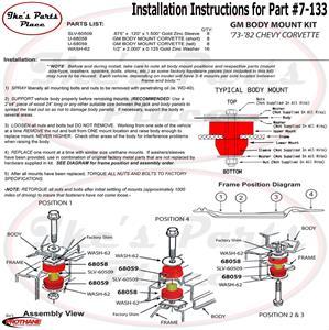 Prothane 7-133 Red Body Mount Kit