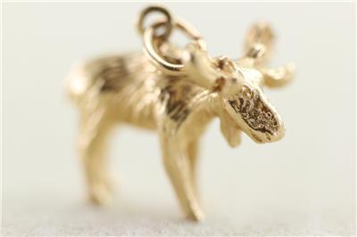 Vintage 14k gold 3d moose charm bracelet solid 14kt pendant ebay vintage 14k gold 3d moose charm bracelet solid 14kt pendant aloadofball Images