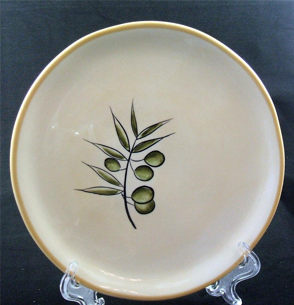 Pottery Barn Rustic Olive Salad Plate Five Green