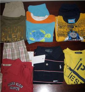 674685279 Here is a great lot of summer short sleeve shirts and shorts. The following  is included in the lot. 1. New Polo Ralph Lauren yellow T-shirt