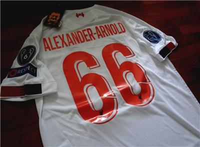 timeless design f3af5 27c49 Details about 2019/20 Liverpool Away Jersey Champions League, Alexander  Arnold Small Size