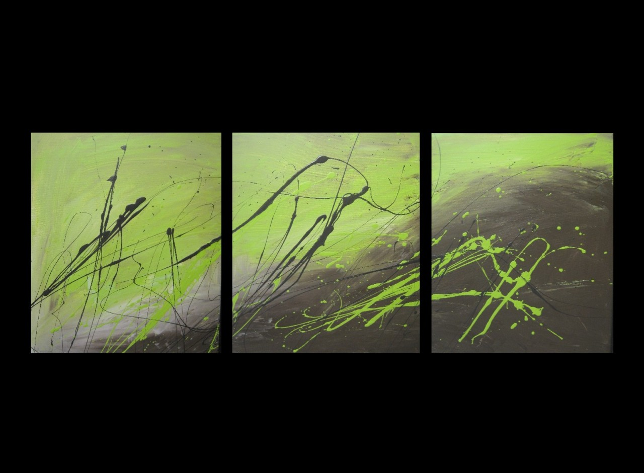 3 ABSTRACT CANVAS PAINTING lime green and brown. Modern ...