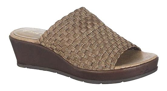 Andrew Geller Fabric Wide Band Slip On Wedge Sandals In