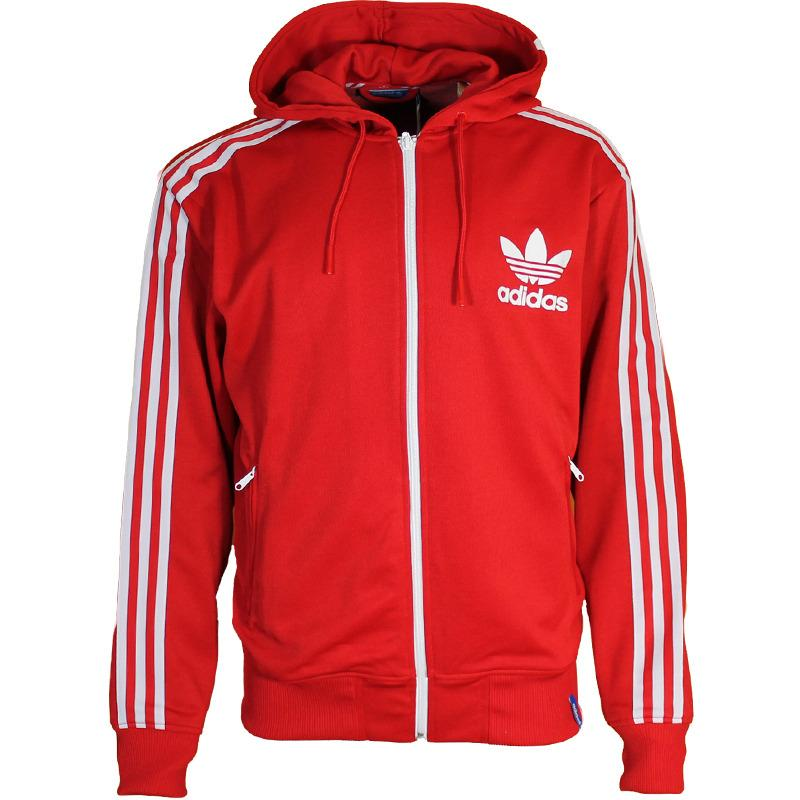 473cb6656 MENS ADIDAS ORIGINALS TREFOIL FULL ZIP HOODED FLOCK TRACK TOP HOODIE ...