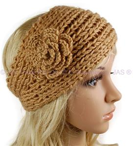 Crochet Headband Flower Button Closure Only New