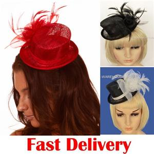 fe11c9dbfd7 Racing Cocktail Party Race Church Feather Cocktail Linen Mini Top Hat  Fascinator