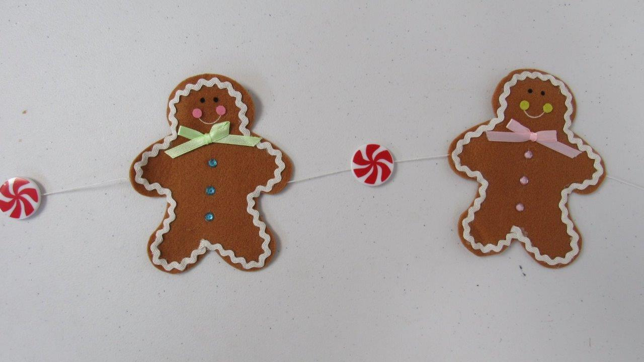 Christmas-Holiday-Garland-30-034-Gingerbread-Man-Men-amp-Peppermint-Candies-NEW