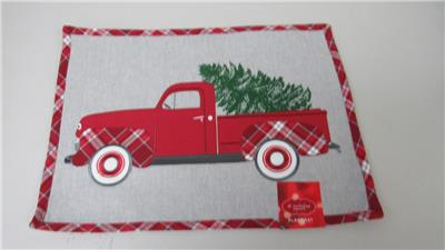 Vintage Red Truck Christmas Placemats.Placemat Christmas Holiday Red Truck W Tree 13 X 18 New