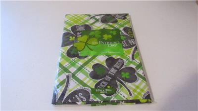 St Patrick S Day Vinyl Tablecloth Green Shamrock Luck Of