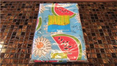 Vinyl Tablecloth Flannel Back Flowers Bbq Fish More 10