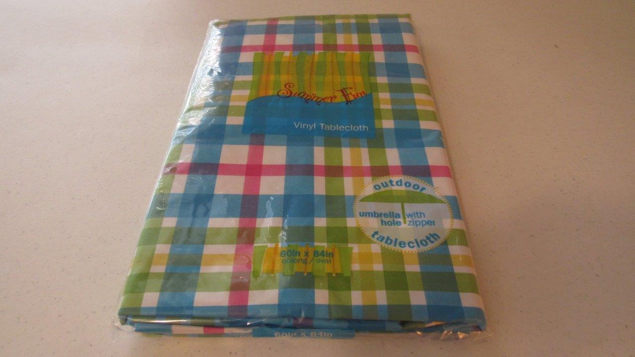 Summer Outdoor Vinyl Umbrella Tablecloths W Zipper 6